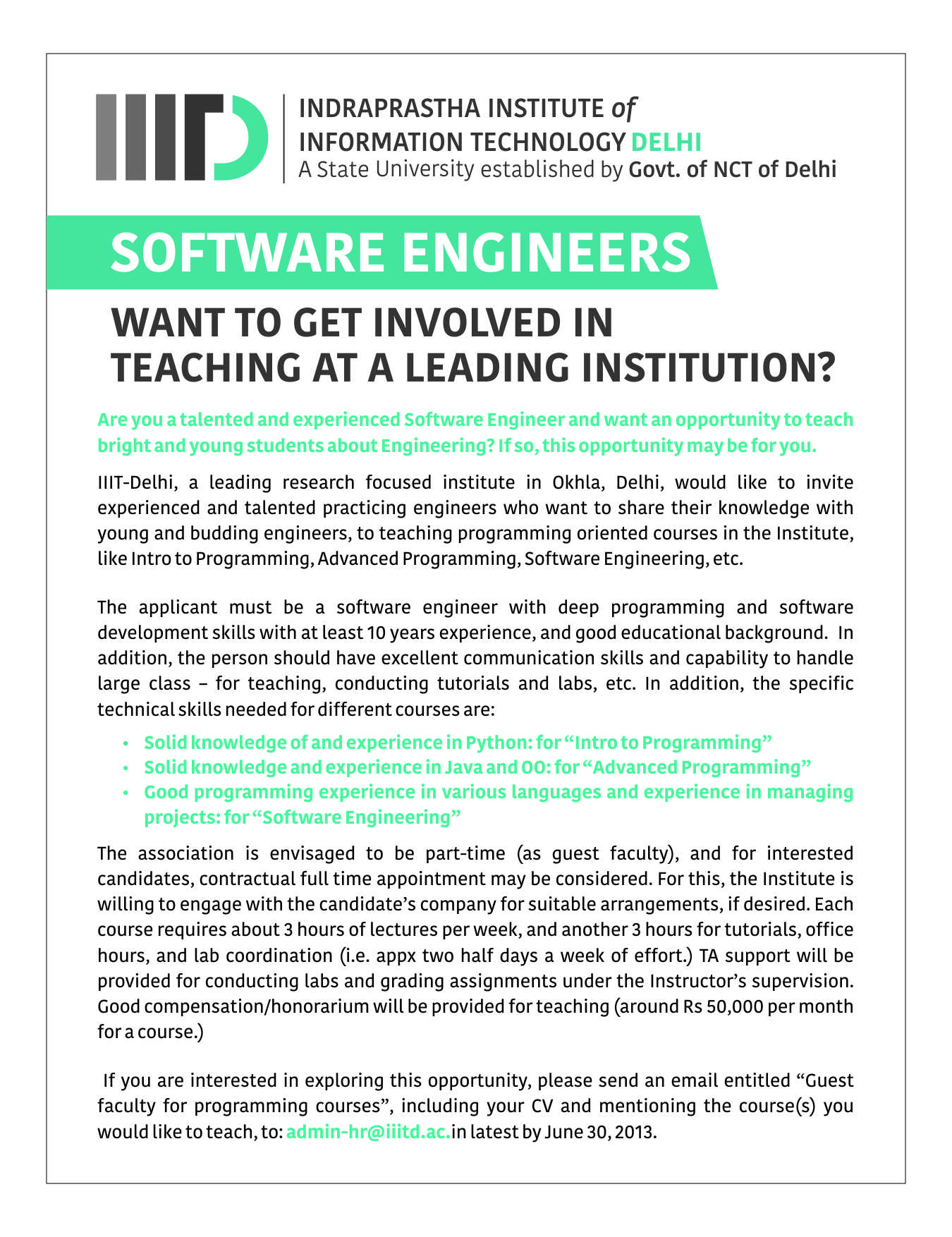Software engineers want to get involved in education at for I need an engineer
